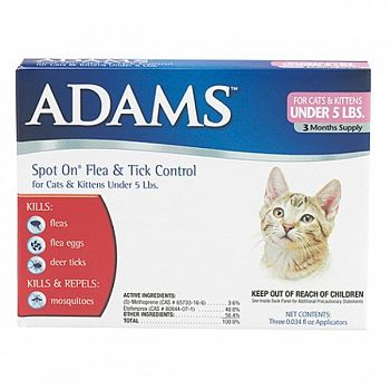 Adams Flea Amp Tick Spot On For Cats And Kittens Cat