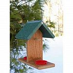 Made from 90% recycled plastic lumber, the Going Green Oriole-Bluebird fruit Feeder helps to preserve the environment and makes a durable and healthy bird feeder for orioles and bluebirds. This feeder has spikes for orange halves and grape jelly dishes.