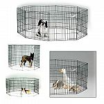 Black E-coated Exercise Pen is made of durable black E-Coat finish for long lasting protection from corrosion and rust. It's easy to set up and available in five heights. This exercise pen includes the ground anchors, and folds flat for convenient storage