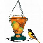 Luscious, handpainted oranges adorn this Colibri feeder, attracting orioles to your back yard. Three orange sliced designed ports further attract birds. Comes with hanging chain and gem cut glass bottle.  24 oz - 5 inch x 11 inch