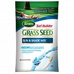 Super absorbent seed coating absorbs and releases water even if you miss a day. Seed germinates 2 times faster and uses less water. Helps seedlings develop 25% thicker and deeper root systems. No grass seed is more weed free. Scotts turf builder sun & sha