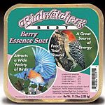 Birdwatchers best berry essence suet. This case contains 12 suet cakes. Consists of rendered beef suet, cracked corn, white millet, chopped peanuts, berry blavoring. Attracts a wide variety of birds and is a great source of energy. 11.75 oz. each.