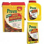 Preen prevents summer and winter annual weeds from growing in flower and vegetable beds and around trees and shrubs for up to three months.  Preen prevents new weeds from growing, it does not kill existing weeds.