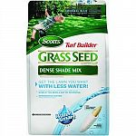 Super absorbent seed coating absorbs and realeases water even if you miss a day. Seed germinates 2 times faster and uses less water. Helps seedlings develop 25% thicker and deeper root systems. No grass seed is more weed free. Scotts turf builder dense sh