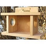 Squirrel munch house. Entertain and feed your squirrels with the Audubon Cedar Squirrel Munch Box. This closed feeder keeps seed protected from weather and from birds and most other animals. Squirrels are naturally curious and will get in!