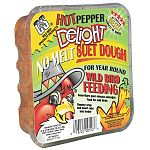 Spicen up your backyard bird's diet by giving them a Hot Pepper Suet Dough treat. Made by C and S, this no-melt treat is ideal for year round wild bird feeding. Specially formulated to provide wild birds with much needed energy and creates less waste and