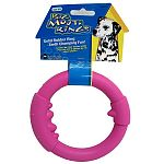 Solid rubber ring that is teeth chomping fun. Great toy for large dogs that love to chew and chase. Dual purpose dog toy.