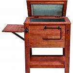 Weathered teak-like stain will last for years. Island height - easy to access the cooler. 57 quart capacitiy cooler keeps beverages cold for 12+ hours. Folded side table for food and drinks, shelf for storage, bottle opener, towel rack and garbage bag hoo
