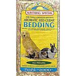 Dust-free and naturally absorbent bedding for small animals and reptiles. 2000 cubic inch when pressed inside bag.