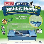 Rabbit home with 2-piece base provides your pet rabbit with a full 8 square feet of living space! The base and cage wire are packaged in 2 seperate pieces which only need to be assembled one time for permanent use. Designed for easy assembly. Features fro