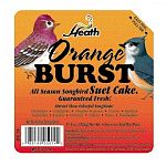 The Heath Orange Burst Suet Mix offers a quick source of high energy for your backyard birds, which have a very high metabolism. Suet is an excellent substitute for insects on which birds usually feed that are not plentiful in cold weather.