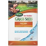 Super absorbent seed coating absorbs and realeases water even if you miss a day. Seed germinates 2 times faster and uses less water. Helps seedlings develop 25% thicker and deeper root systems. No grass seed is more weed free. Scotts turf builder fall mix